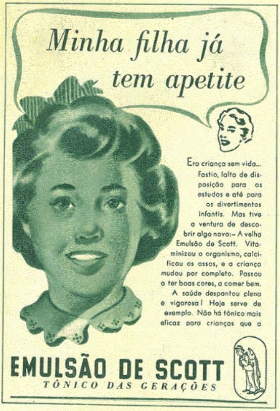 Propaganda antiga do Emulsão de Scott veiculada em 1954