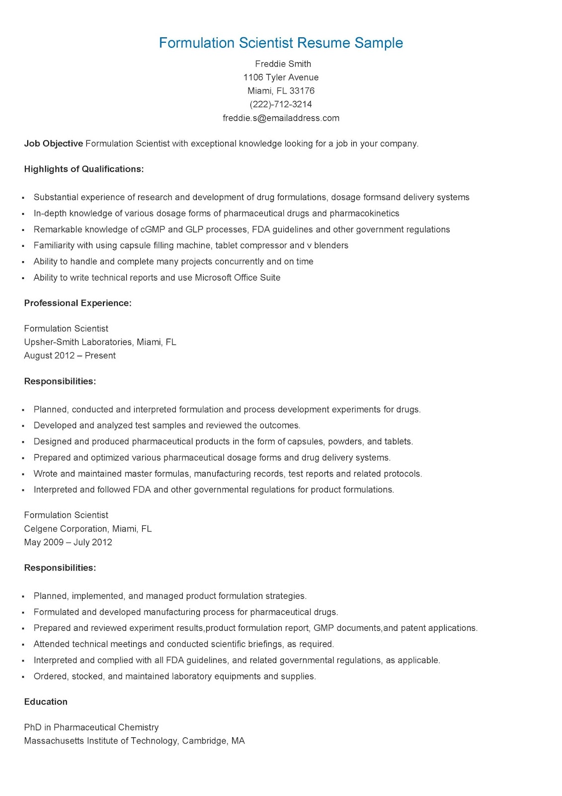 formulation scientist resume sample resume samples
