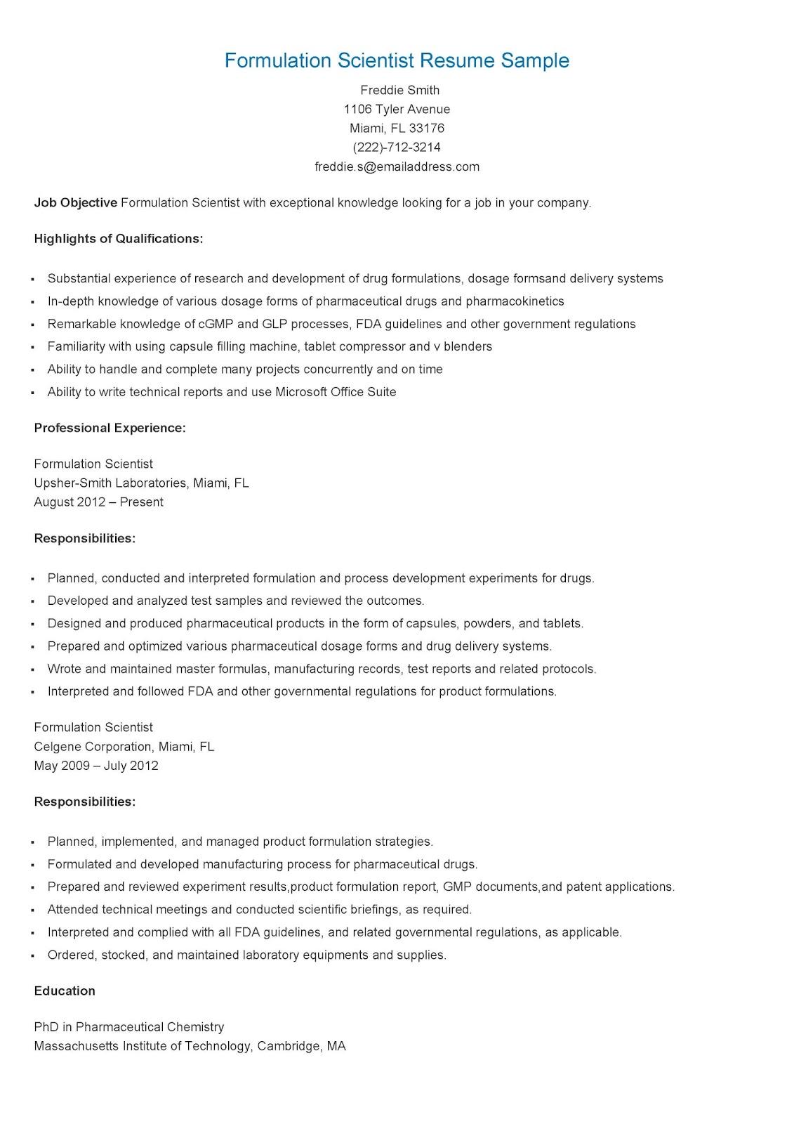 pharmaceutical formulation scientist resume sample