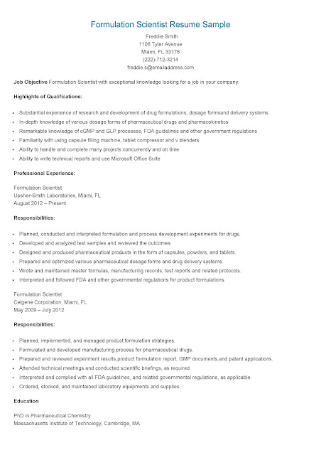 Resume Samples Formulation Scientist Resume Sample