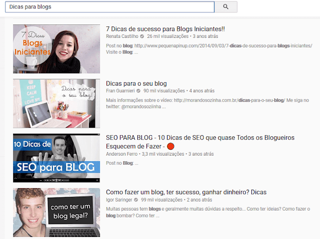 Resultados do Youtube