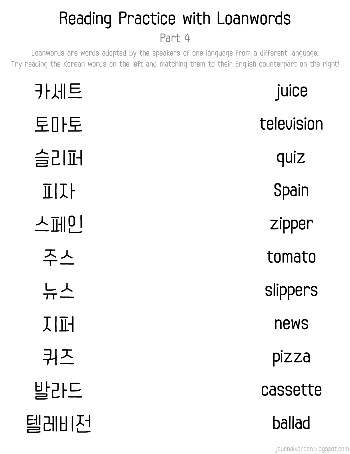 Korean Loanwords Reading Practice