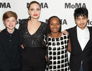 Angelina and her kids