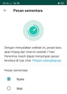 fitur sementara whatsapp yang bisa membantumu untuk menghapus pesan jika sudah 7 hari setelah tanggal pengiriman