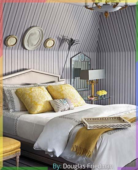 غرفة نوم انيقة بالأبيض والرصاصي مع اللون الأصفر
