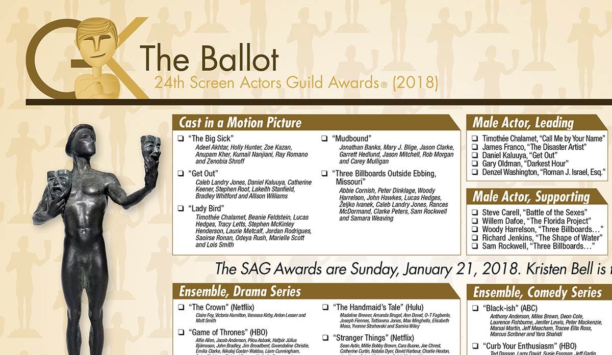 image about Golden Globe Ballots Printable named 2018 Display Actors Guild (SAG) Awards printable ballot The
