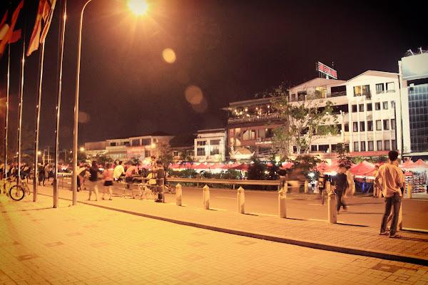 Shopping at night market Vientian