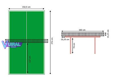 Contoh Gambar Dan Ukuran Lapangan Tenis Meja (Pingpong) Lengkap Beserta Keterangannya
