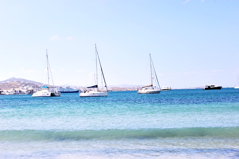 Livadia beach in Paros view at Paroikia port