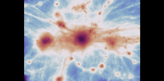 Frame from a movie of a massive galaxy cluster from the C-EAGLE simulation, providing a view of a region comparable to the one where the filaments have been detected. The color map represents the same emission from the gas filaments as the one detected in observations. At the convergence of these filaments, a massive cluster of galaxy is assembling.
