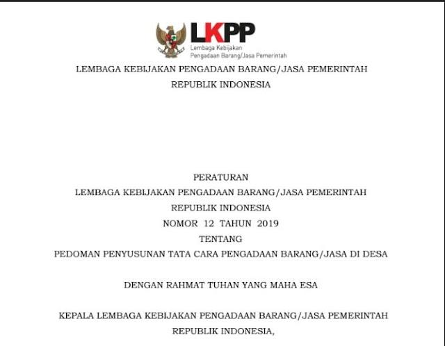 Susunan Anggota TPK Desa Menurut Perka LKPP Nomor 12 Tahun 2019