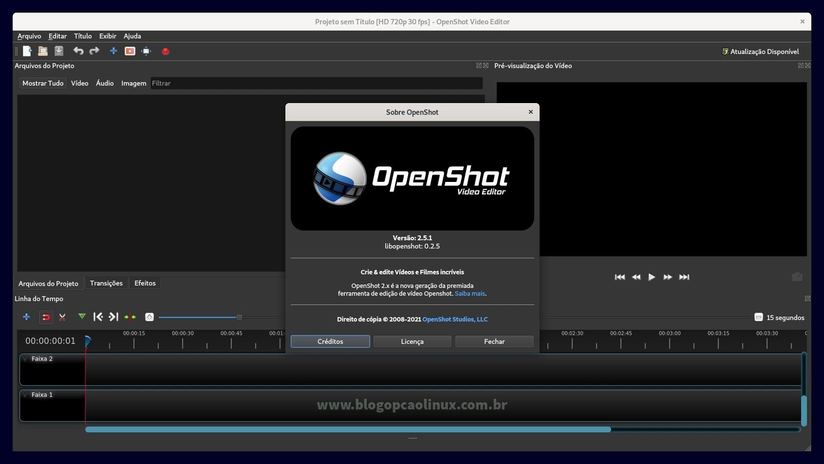 OpenShot executando no Debian 11 Bullseye