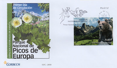 Sobre del matasellos PDC del sello del Parque Nacional de los Picos de Europa