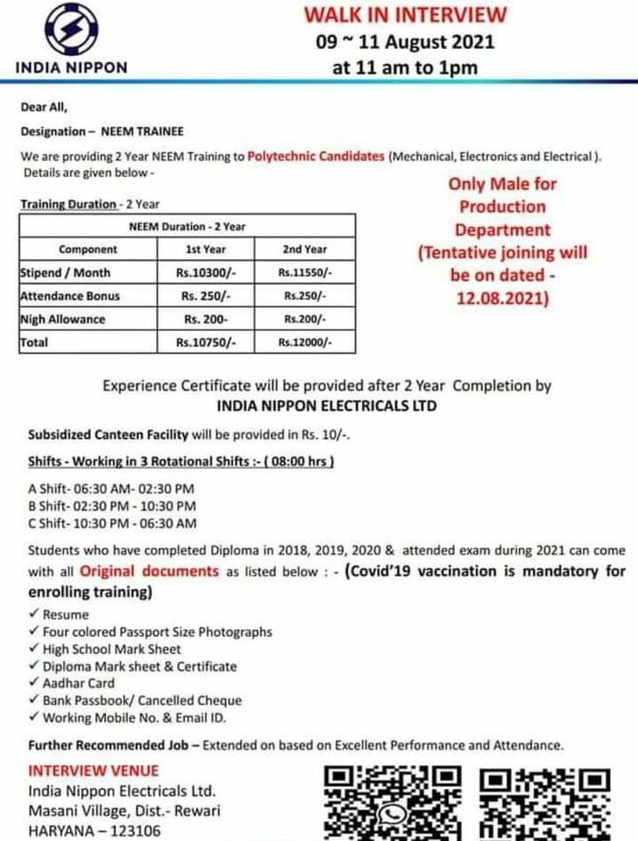 Walk In Drive For Diploma Polytechnic Holders in India Nippon Electricals Ltd Rewari, Haryana