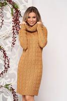 Rochie SunShine maro midi de zi din material tricotat cu maneci lungi pe gat fara captuseala