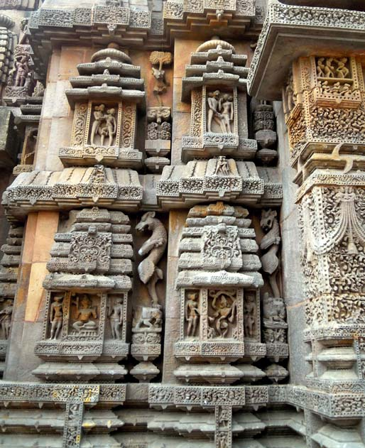 Exquisite carvings on the shikhara at the Brahmeswara Temple, Bhubaneshwar