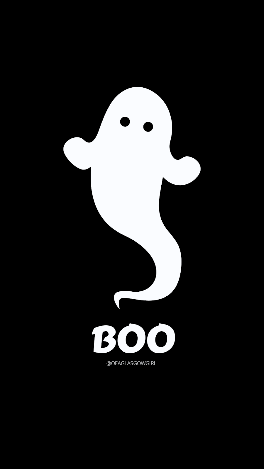 "Free Halloween Inspired Graphic by @Ofaglasgowgirl - A picture of a cartoon ghost with ""Boo"" written underneath in white with a black background"