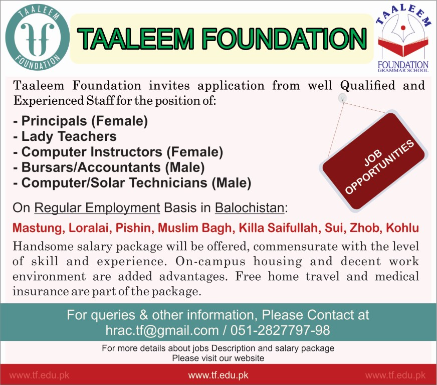Jobs in Taaleem Foundation for Teaching Staff 2018