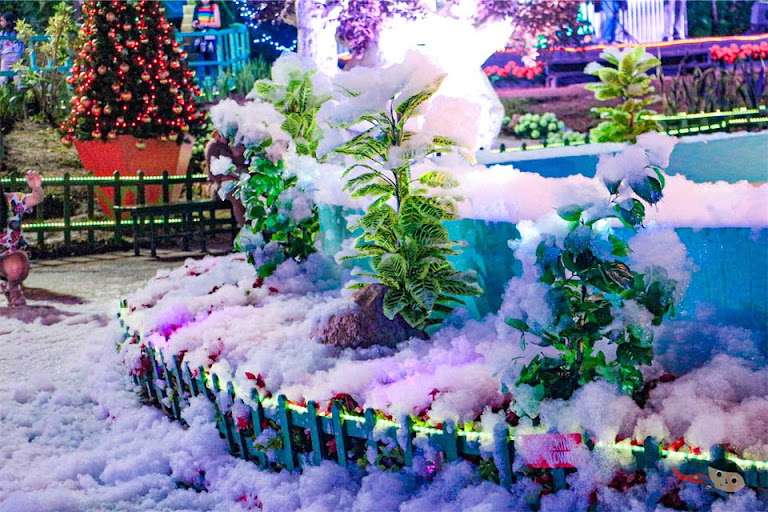 Snow (soap suds) in Christmas Village of Baguio