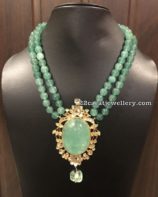 Emerald Beads Necklace with Locket