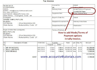 how to add payment terms in tally