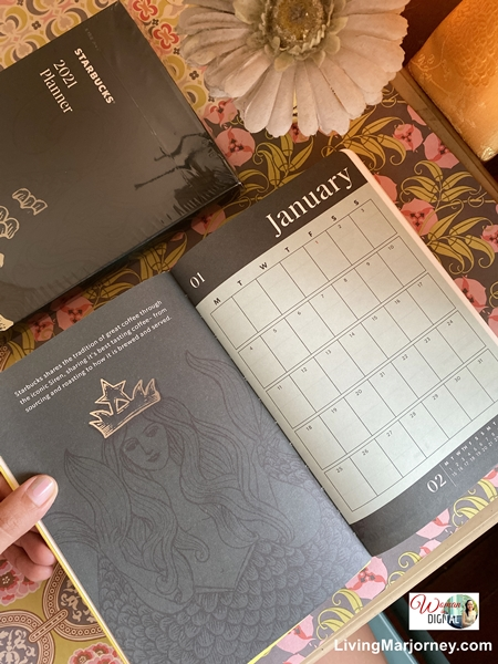 Inside pages of Starbucks Planner 2021
