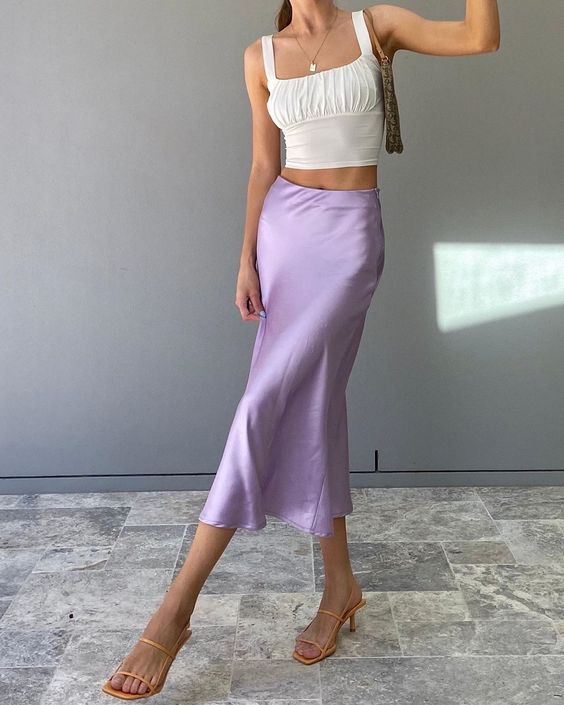 Satin Lilac Maxi Skirt, White Ruched Crop Tank Top