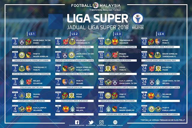 Jadual Liga Super 2018