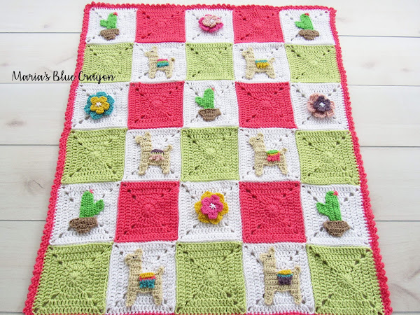 Llama and Cactus Granny Square Afghan - Free Crochet Pattern
