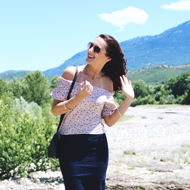 Jelena Zivanovic Instagram @lelazivanovic.Glam fab week.Summer outfit: Off the shoulder floral top.