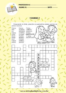 Atividade palavra cruzada história de Ana e Samuel