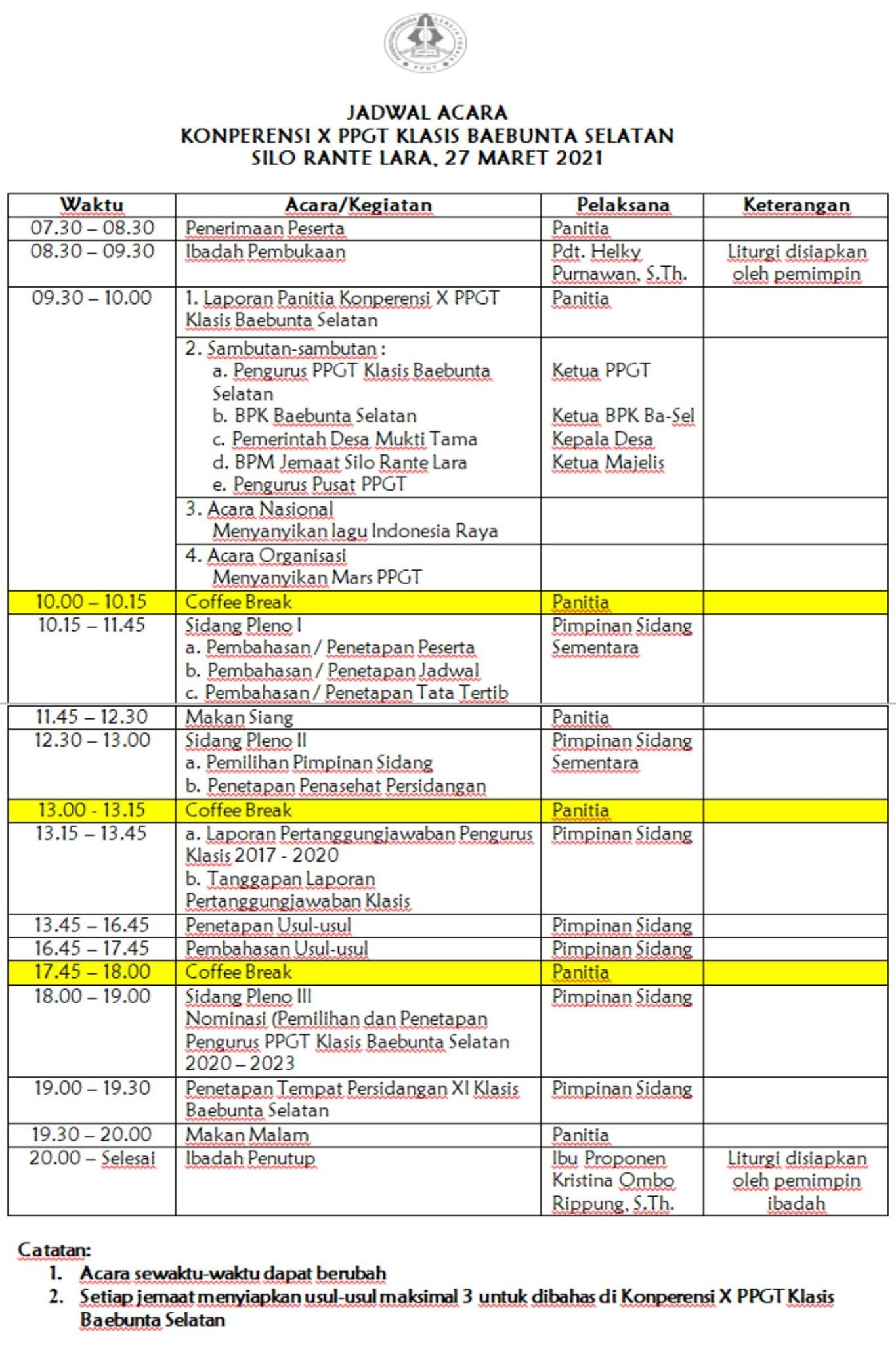 Contoh Jadwal Acara Konperensi PPGT