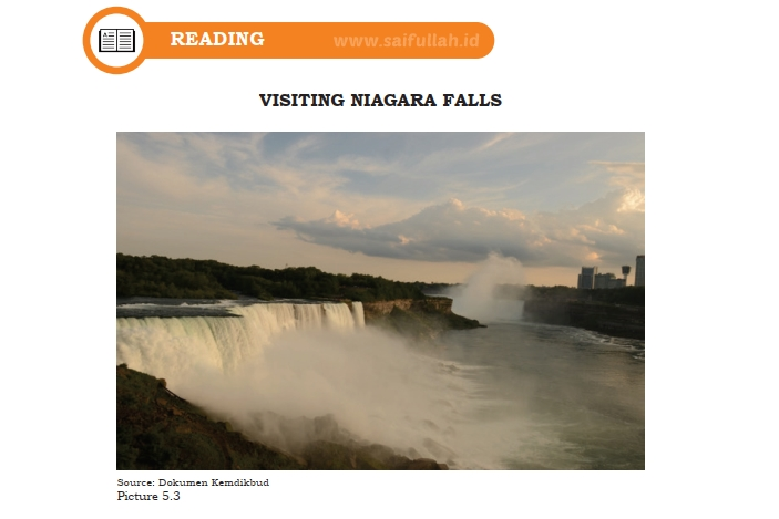 Terjemahan Teks Visiting Niagara Falls Chapter 5 Halaman 72-73 (Reading) Kelas 10