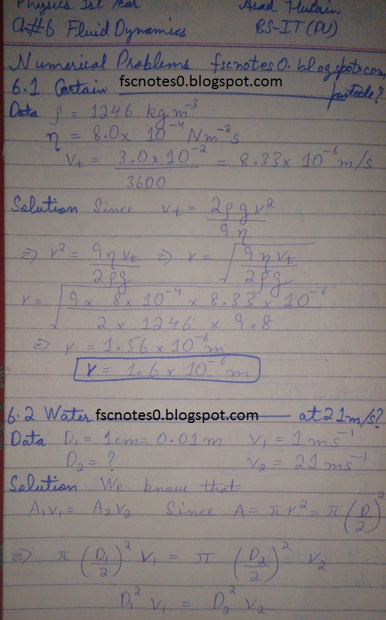 F.Sc ICS Notes: Physics XI: Chapter 6 Fluid Dynamics Numerical Problems Asad Hussain