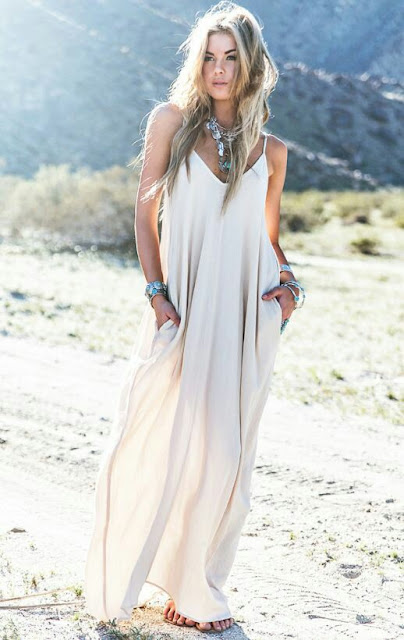 Boho maxi long v neck Dress