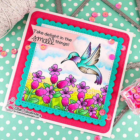 Hummingbird Card by Ellen Haxelmans | Hummingbird Stamp Set and Frames Squared Die Set by Newton's Nook Designs #newtonsnook #handmade