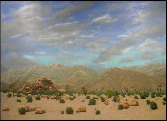 art, painting, diorama, Mojave, desert, Joshua trees, joshua Tree National Park,rocks, plants, wildflowers