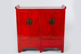 Aparador Oriental Rojo 4 Puertas Abbans