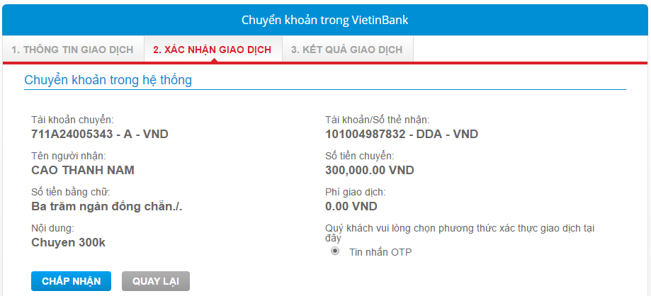 Chuyển tiền từ tài khoản 711A sang DDA trong Vietinbank