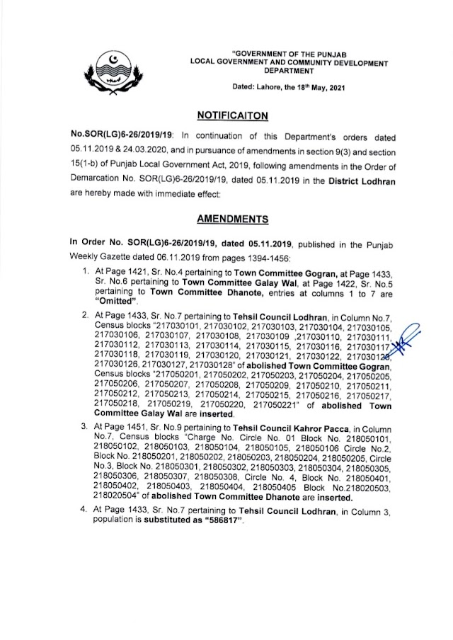 DEMARCATION OF TEHSIL COUNCILS AND ABOLISHED TOWN COMMITTEES OF DISTRICT LODHRAN