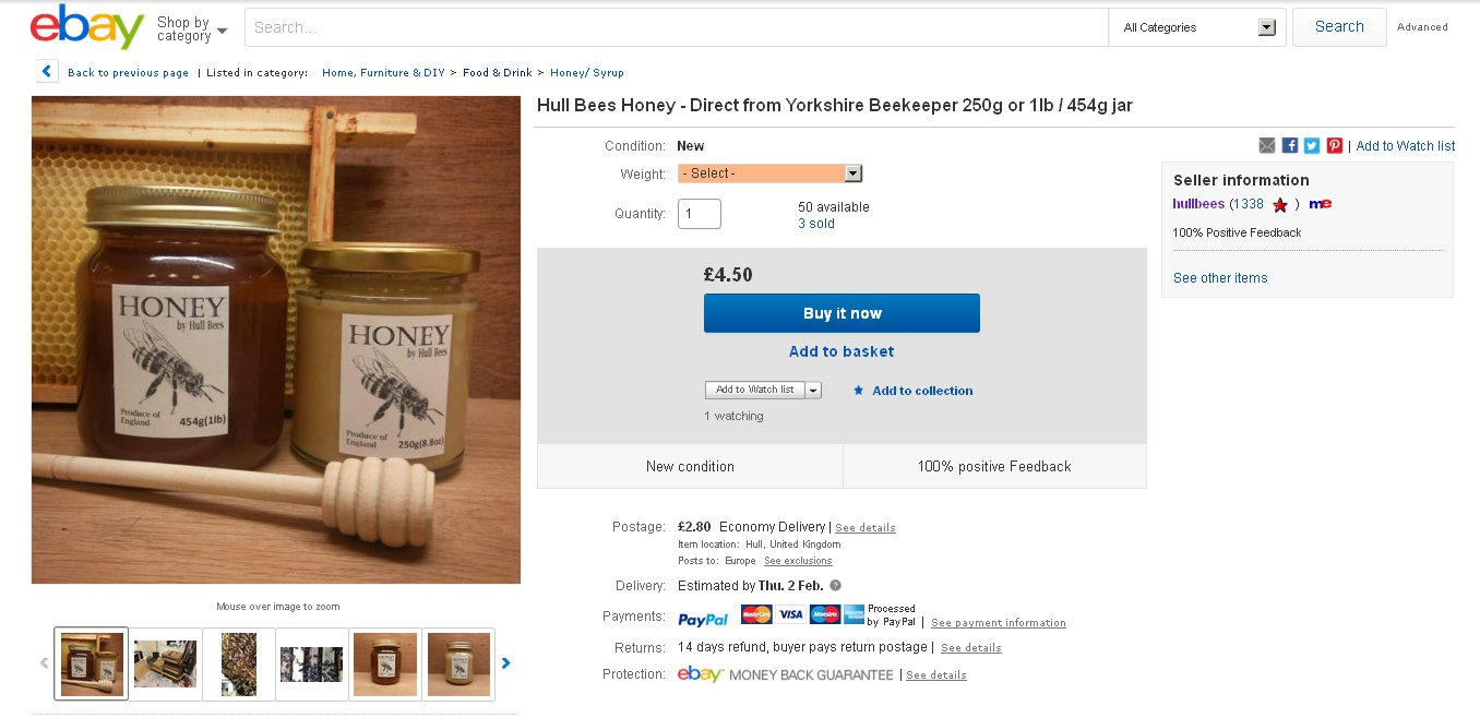 The Hivemind and Me: Hull Bees Honey now on eBay!