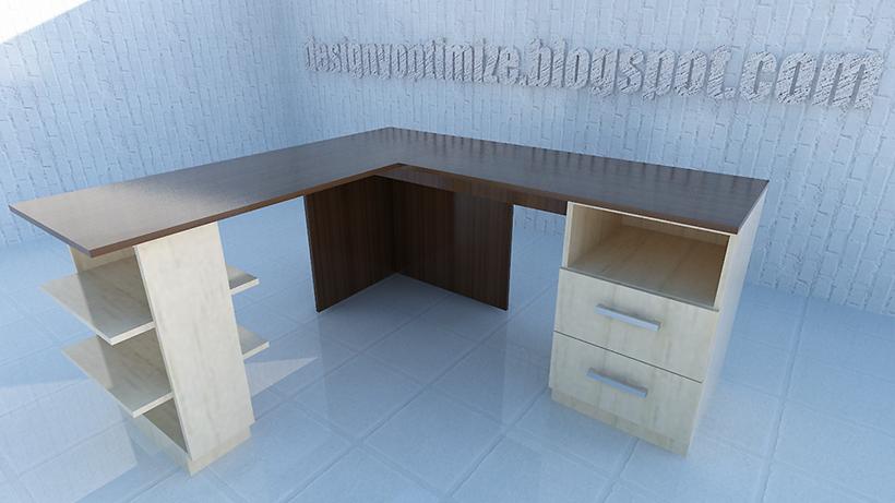 Dise o de muebles madera fabricando escritorio l for Diseno de muebles de escritorio