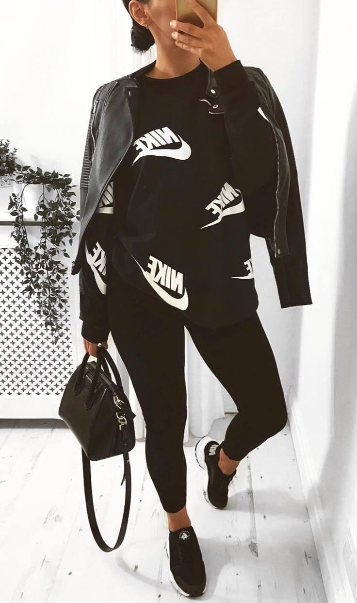 all balck everything / sweatshirt + moto jacket + bag + sneakers + leggings