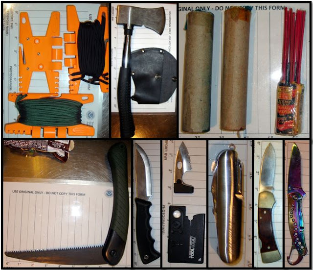 Items discovered in traveler's bag at BWI.