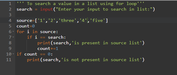 Python Program to search a value in a list using for loop
