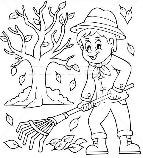 Colorear Hombre con rastrillo en su huerto