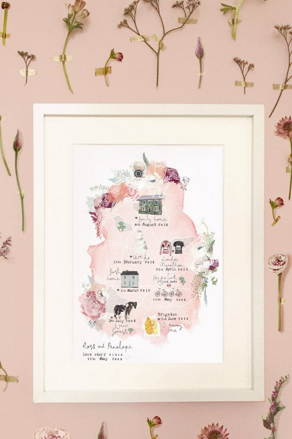 hand illustrated, personalized love story map in frame