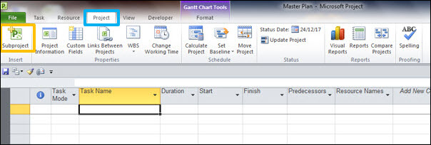 Master Plan in Microsoft Project Plan