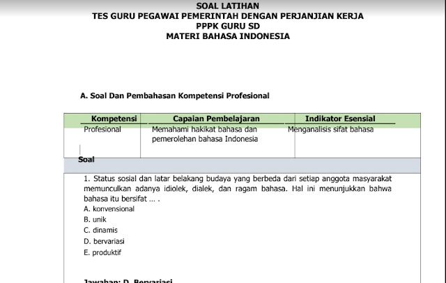 Contoh Soal dan Kunci Jawaban  Ujian PPPK Guru Bahasa Indonesia SD  Tahun 2021