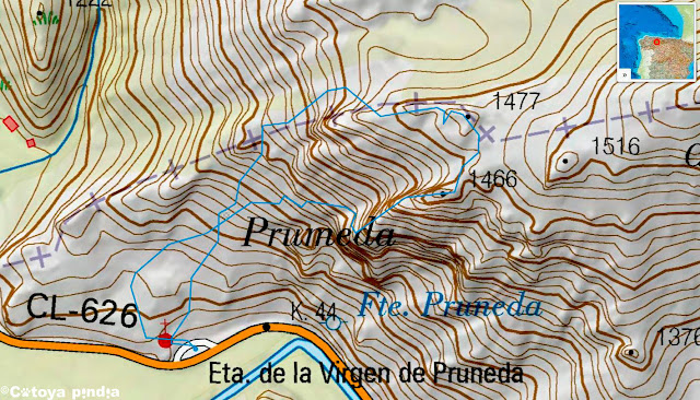 Mapa IGN con la ruta a Peña Rabanal por el espolón anaical desde la Ermita de Pruneda.